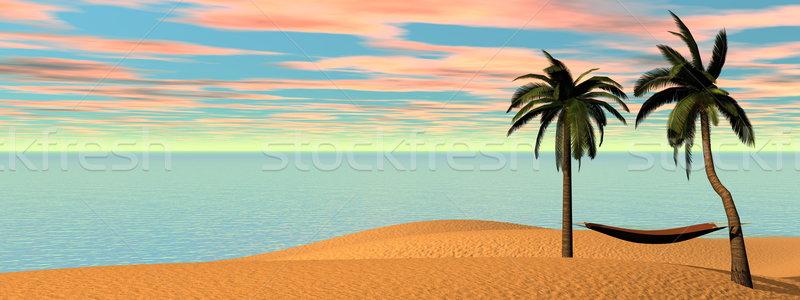 Tatil 3d render hamak palmiye ağaçları tropical island Stok fotoğraf © Elenarts