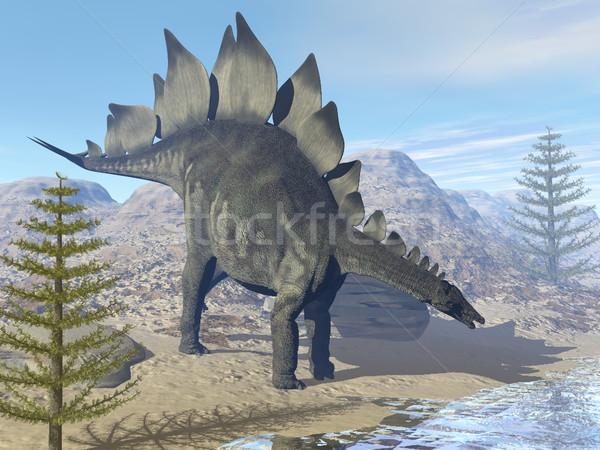 Dinosauro rendering 3d guardando acqua deserto giorno Foto d'archivio © Elenarts
