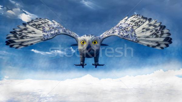 белый совы дайвинг 3d визуализации горные зима Сток-фото © Elenarts
