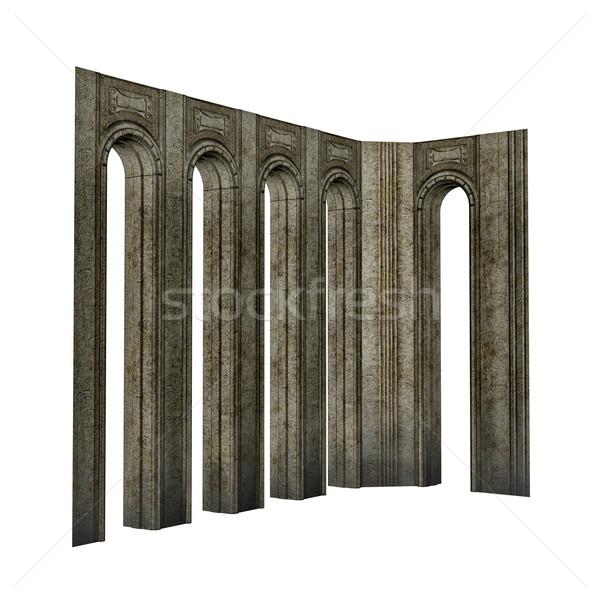 арки 3d визуализации изолированный белый здании каменные Сток-фото © Elenarts
