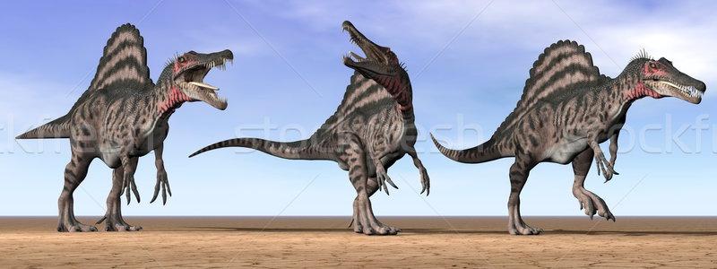 Spinosaurus dinosaurs in the desert - 3D render Stock photo © Elenarts