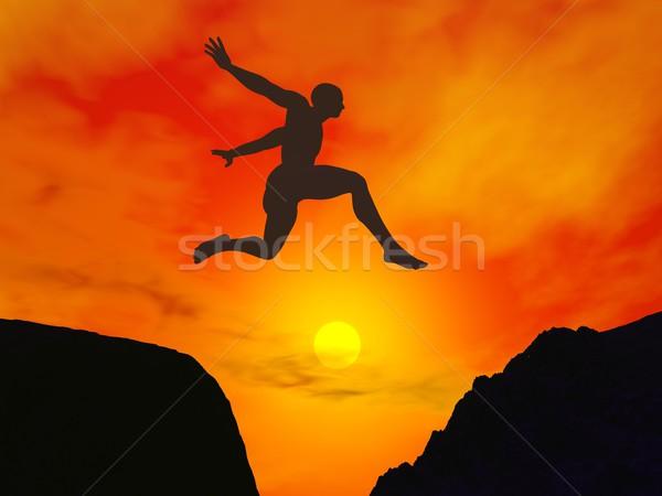Adam atlama boşluk 3d render siluet güzel Stok fotoğraf © Elenarts
