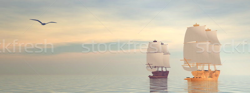 Old ships - 3D Render Stock photo © Elenarts