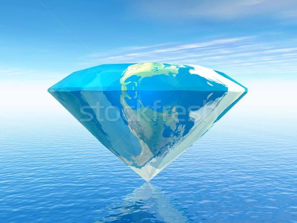 Earth is a diamond - 3D render Stock photo © Elenarts