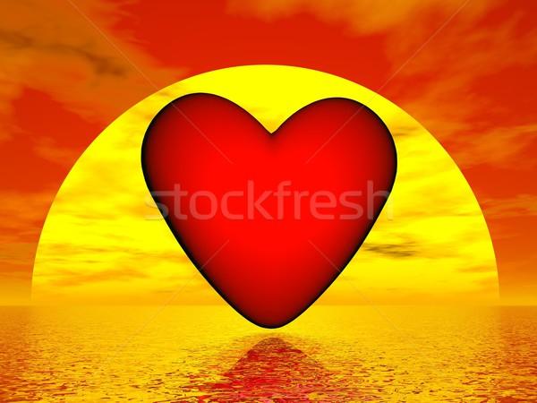 Szeretet naplemente 3d render piros szív alak óceán Stock fotó © Elenarts