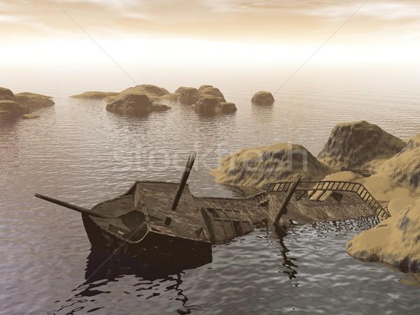 古い 破壊 3dのレンダリング 汚い 小 島々 ストックフォト © Elenarts