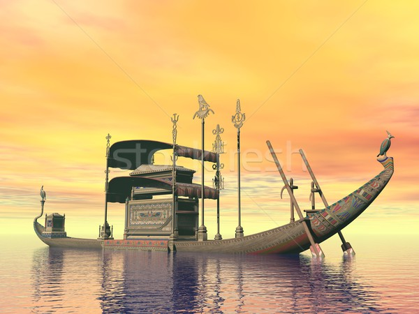 Egyptian sacred barge with tomb - 3D render Stock photo © Elenarts