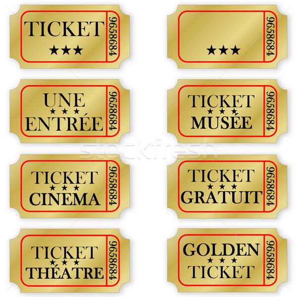 Ingesteld frans gouden tickets entertainment witte Stockfoto © Elenarts