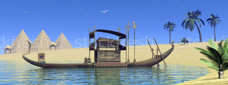 Tomb on sacred barge in Egypt - 3D render Stock photo © Elenarts