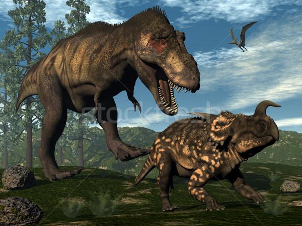 Stock photo: Tyrannosaurus rex attacking einiosaurus dinosaur - 3D render