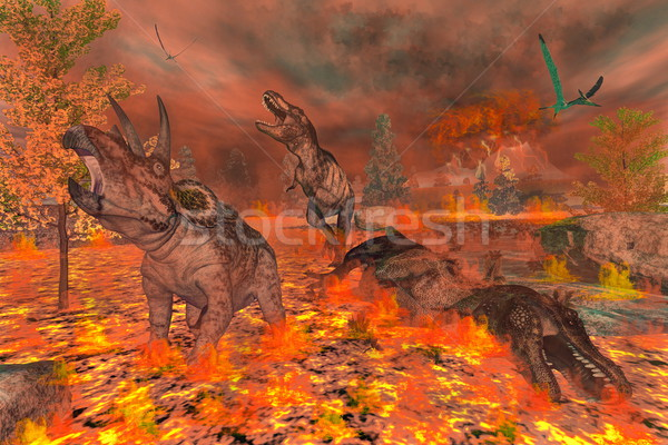 Dinosaurs, tyrannosaurus and triceratops, exctinction - 3D render Stock photo © Elenarts