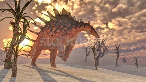 恐竜 3dのレンダリング 1 徒歩 木 日没 ストックフォト © Elenarts
