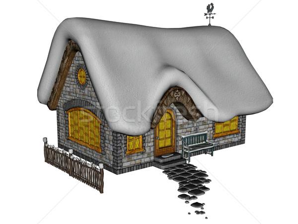 Foto stock: Casa · de · campo · inverno · 3d · render · isolado · branco · casa