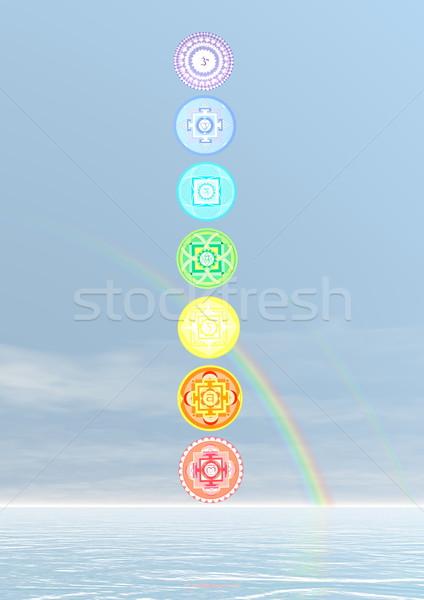 Zeven chakra symbolen kolom 3d render regenboog Stockfoto © Elenarts