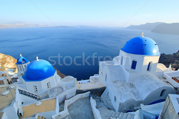 Blue domes of orthodox churches, Santorini, Greece Stock photo © Elenarts