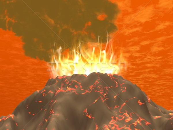 3d визуализации вулкан огня большой дым Сток-фото © Elenarts