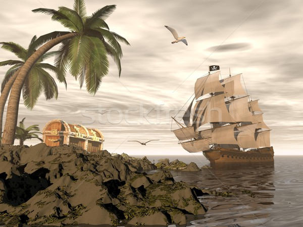 Pirate ship finding treasure - 3D render Stock photo © Elenarts