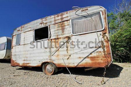 Old abandoned caravans Stock photo © Elenarts