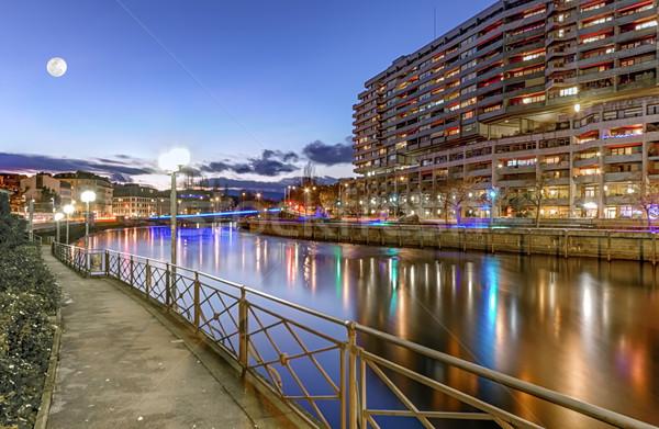 Stock fotó: Folyó · híd · épületek · Genova · Svájc · hdr