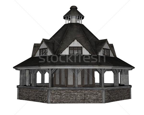 3d render izolált fehér épület háttér kő Stock fotó © Elenarts