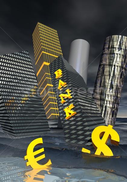 Crise financeira banco edifício financeiro arranha-céus dólar Foto stock © Elenarts