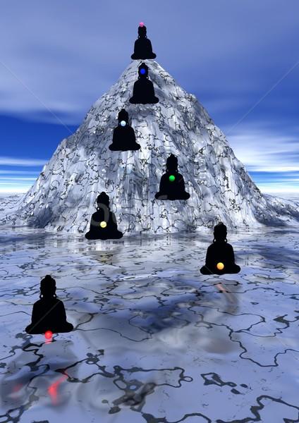 Zeven omhoog berg schaduwen meditatie chakra Stockfoto © Elenarts