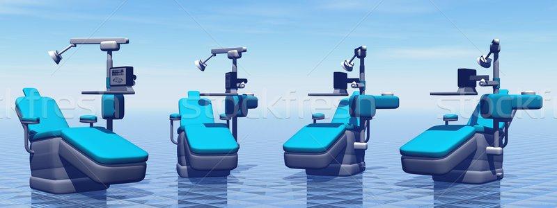 Stockfoto: Tandheelkundige · stoelen · moderne · Blauw · medische · achtergrond