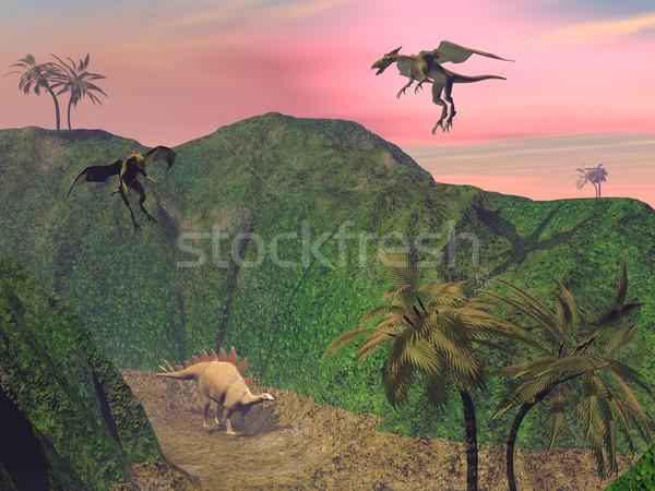 Stegosaurus attacked Stock photo © Elenarts