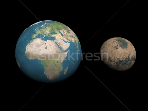 Earth and Mars planets size comparison - 3D render Stock photo © Elenarts