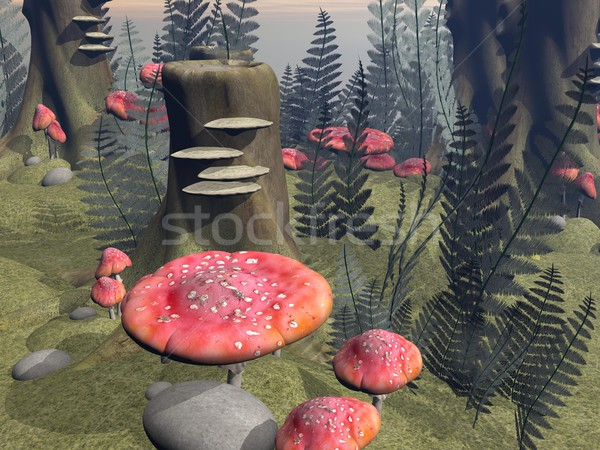Fly agaric mushrooms in the forest - 3D render Stock photo © Elenarts