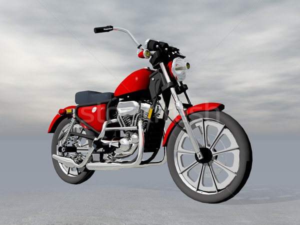 Red motorbike - 3D render Stock photo © Elenarts