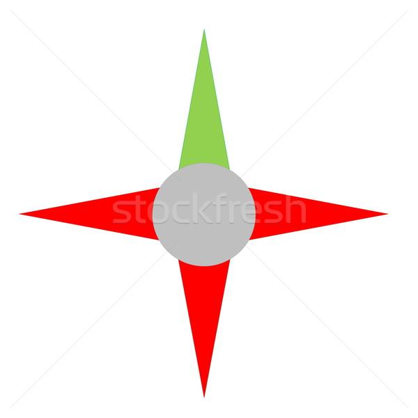 Bússola verde ramo direito direção vermelho Foto stock © Elenarts