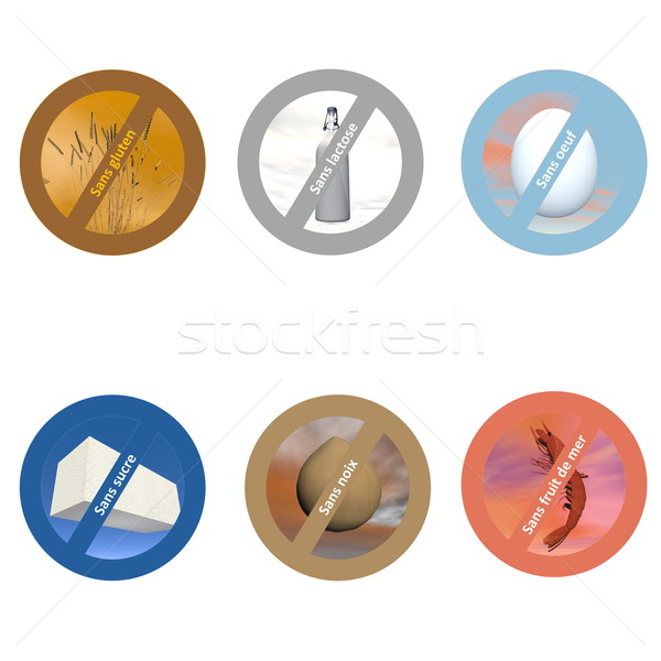 French stickers for allergen free products Stock photo © Elenarts