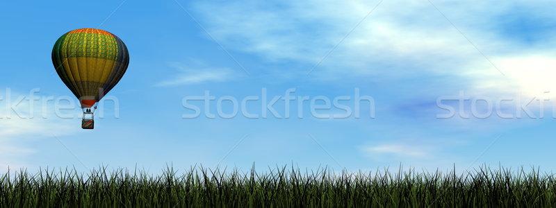 Balonem 3d kolorowy pływające zielona trawa mętny Zdjęcia stock © Elenarts