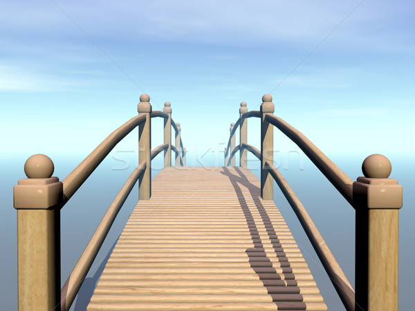 Wooden bridge to the sky - 3D render Stock photo © Elenarts