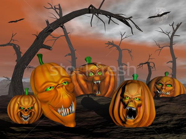 Halloween pumpkins and spooky trees - 3D render Stock photo © Elenarts