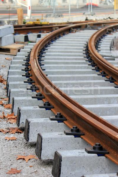 Befejezetlen vasút építkezés szállítás város épület Stock fotó © Elenarts