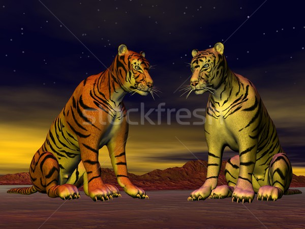 Two tigers in the desert Stock photo © Elenarts