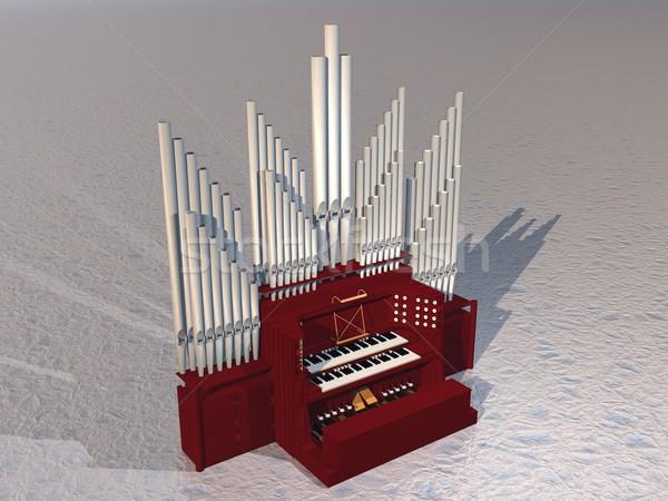Boru organ 3d render güzel enstrüman Stok fotoğraf © Elenarts