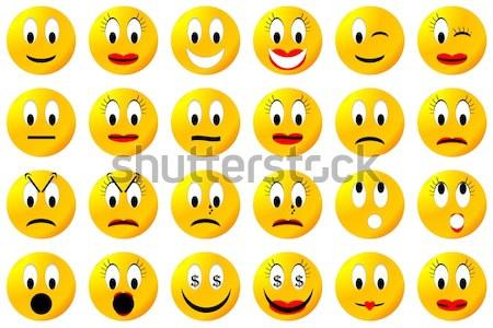 Szett emotikon 3d render különböző érzelmek fehér Stock fotó © Elenarts