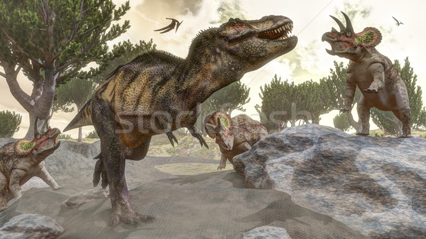 Tyrannosaurus rex escaping from triceratops attack - 3D render Stock photo © Elenarts