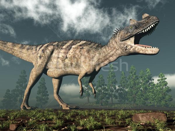 Dinozor 3d render yürüyüş ağaç doğa çöl Stok fotoğraf © Elenarts