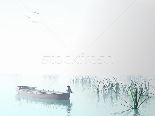 Bois bateau rendu 3d bleu oiseau faible Photo stock © Elenarts