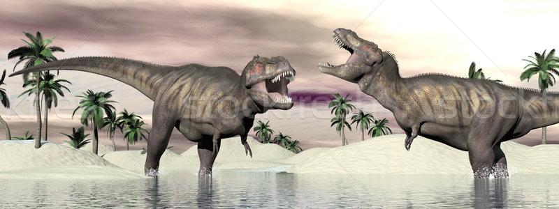 Stock photo: Tyrannosaurus rex dinosaur fight - 3D render