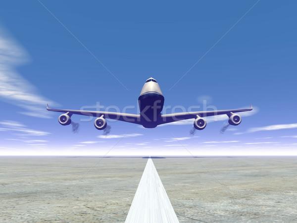 Düzlem iniş 3d render uçak zemin grafik Stok fotoğraf © Elenarts