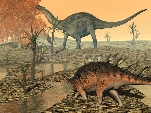 Dicaeosaurus and kentrosaurus dinosaurs - 3D render Stock photo © Elenarts