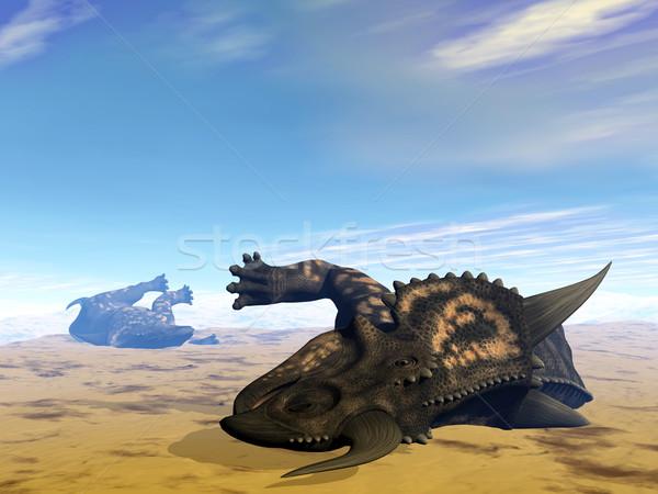 Динозавры мертвых 3d визуализации два пустыне отсутствие Сток-фото © Elenarts