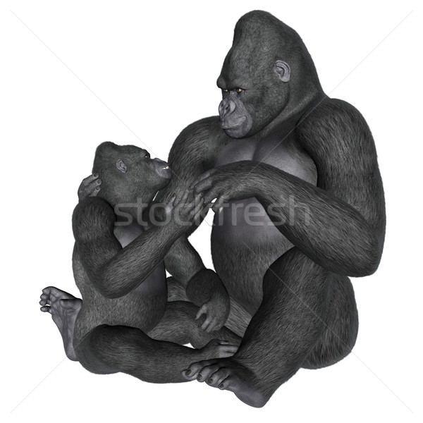 Gorilla motherhood - 3D render Stock photo © Elenarts