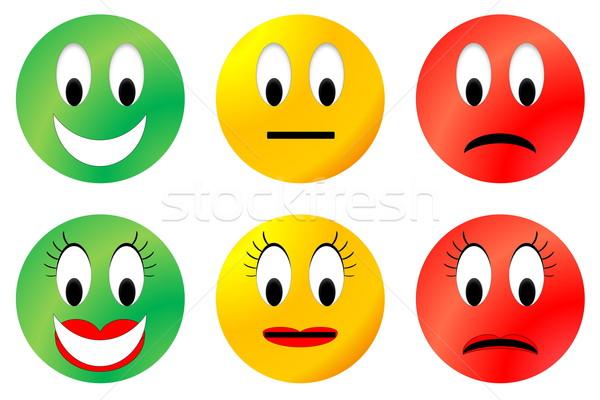 Kolorowy szczęśliwy neutralny nieszczęśliwy mężczyzna Zdjęcia stock © Elenarts