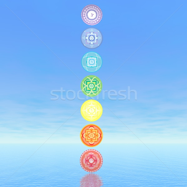 Seven chakra symbols column - 3D render Stock photo © Elenarts